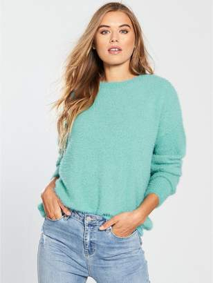 Very Fluffy Curved Hem Jumper - Dusted Mint