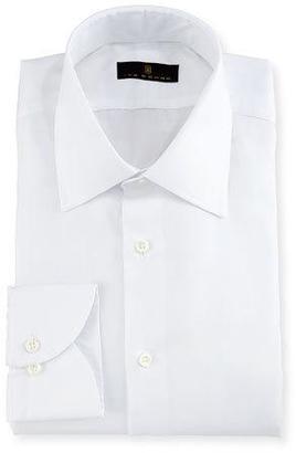 Ike Behar Gold Label Micro-Herringbone Dress Shirt, White $225 thestylecure.com