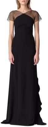 ML Monique Lhuillier Swiss Dot & Crepe Gown