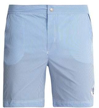 Robinson Les Bains - Oxford Long Striped Swim Shorts - Mens - Blue