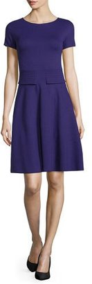 Armani Collezioni Short-Sleeve Trapunto-Waist Dress, Imperial Purple $895 thestylecure.com