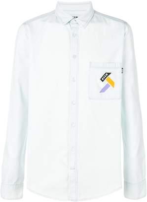 MSGM chambray chest logo shirt