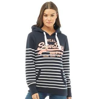 Superdry Womens Vintage Logo Stripe Hoodie Eclipse Navy/Optic