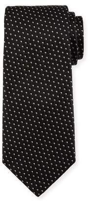 Ermenegildo Zegna Diagonal Diamonds Silk Tie, Black