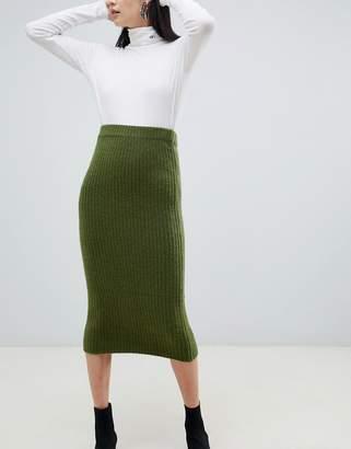 Asos Design DESIGN wide rib midi skirt