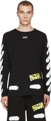 Off-White Black Diagonal Spray Long Sleeve T-Shirt $320 thestylecure.com