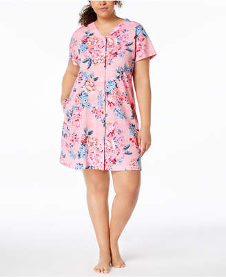 Miss Elaine Plus Size Printed Snap-Front Short Robe