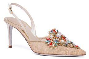 Rene Caovilla Crystal-Embellished Lace Slingbacks $1,190 thestylecure.com