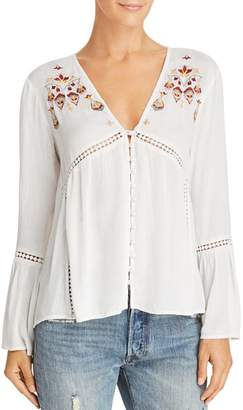 En Creme Embroidered Bell-Sleeve Top