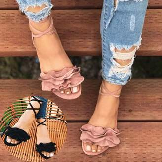 Meigar Women's Gladiator Flat Heels Lace Up Sandals Fashion Women Ankle Strap Shoes