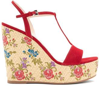 Prada Floral-embroidered suede wedge sandals