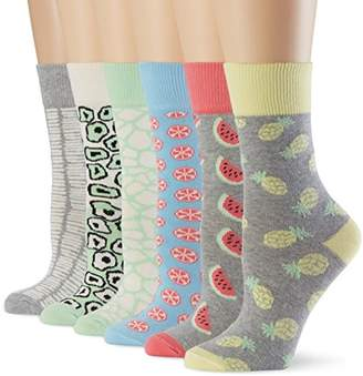 My Way MyWay Women's Tropicana Calf Socks Pack of 6, Multicoloured (coloured)