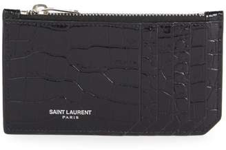 Saint Laurent Fragments Crocodile-Embossed Leather Zip Card Case