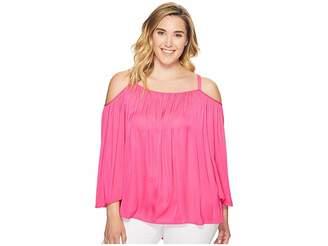 Vince Camuto Specialty Size Plus Size Long Sleeve Cold Shoulder Blouse Women's Blouse