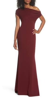 Katie May Hannah One-Shoulder Crepe Trumpet Gown
