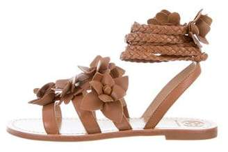 Tory Burch Floral Lace-Up Sandals
