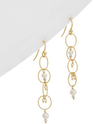 Chan Luu 18K Over Silver Labradorite & 2Mm Pearl Earrings