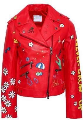 Mira Mikati Painted Leather Biker Jacket