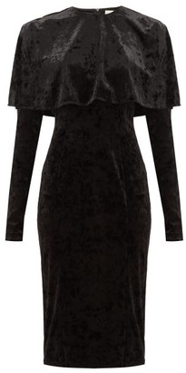Sara Battaglia Caped Crushed Velvet Dress - Womens - Black