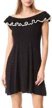 Philosophy di Lorenzo Serafini Ruffle Shoulder Knit Dress Black