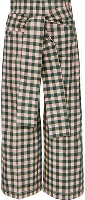 Silvia Tcherassi - Salve Cropped Gingham Cotton-blend Wide-leg Pants - Green