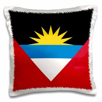 Antigua 3dRose Flag of and Barbuda twin islands - red white blue black with rising yellow sun - patriotic - Pillow Case, 16 by 16-inch