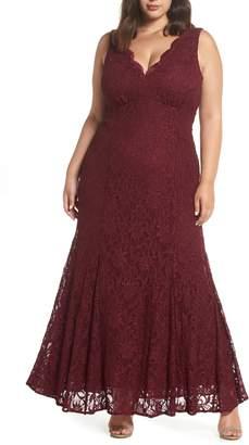 Morgan & Co. Lace Scallop Trim Gown