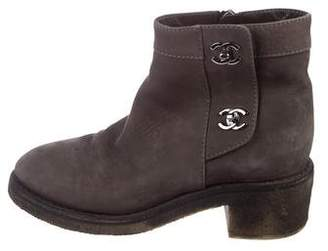 Chanel CC Suede Round-Toe Ankle Boots