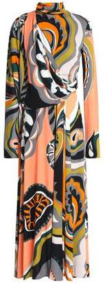 Emilio Pucci Draped Printed Stretch-Jersey Turtleneck Midi Dress