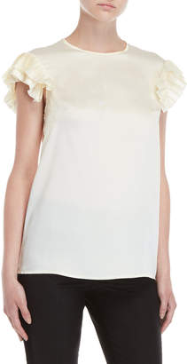 P.A.R.O.S.H. Pleated Trim Satin Top