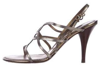 Louis Vuitton Metallic Leather Slingback Sandals