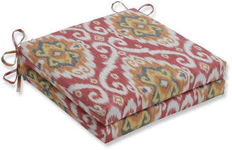 PILLOW PERFECT Pillow Perfect Set of 2 Ubud Coral Oversized Squared Corners Patio Seat Cushion