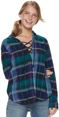 Mudd Juniors' Lace-Up Plaid Flannel Shirt