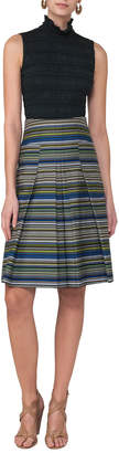 Akris Punto Striped Pleat-Front A-Line Skirt, Multi