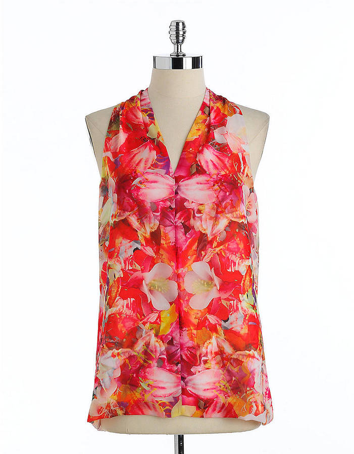 Vince Camuto Printed Sleeveless A-Line Top