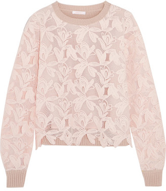 See by Chloé - Guipure Lace And Knitted Cotton Sweater - Pastel pink $395 thestylecure.com