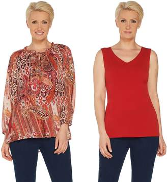 Susan Graver Printed Sheer Chiffon Peasant Top and Knit Tank Set