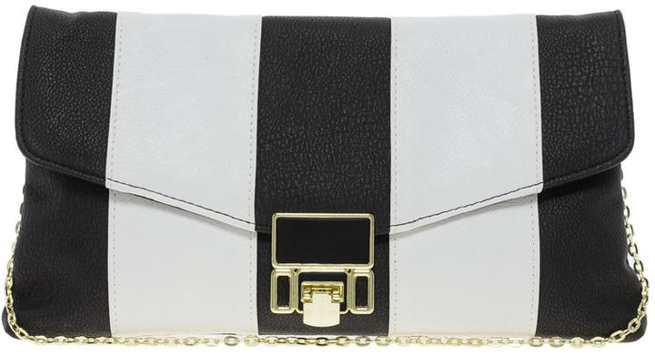 Black And White Stripe Lock Clutch