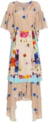 Natasha Zinko Silk Floral Apron Wrap Dress