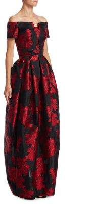 Zac Posen Off-The-Shoulder Silk Gown