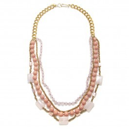 Wendy Mink Beaded Rose Quartz Necklace