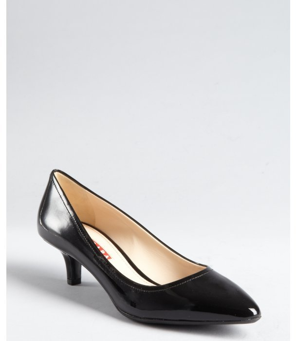 Prada Sport black patent leather point toe kitten pumps