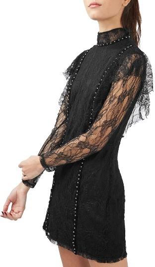 TopshopWomen's Topshop Stud Ruffle Lace Dress
