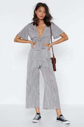 Nasty Gal Don't Slit On the Fence Striped Crop Top and Pants Set