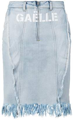 Gaelle Bonheur logo print denim skirt