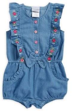 Nannette Baby Girl's Chambray Floral Ruffle Romper