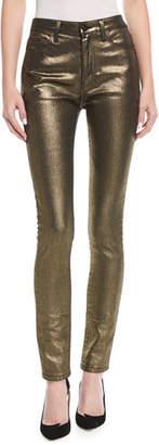 Saint Laurent High-Rise Skinny-Leg Metallic Jeans