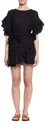 Etoile Isabel Marant Delicia Ruffle-Trim Wrap Dress, Black $425 thestylecure.com
