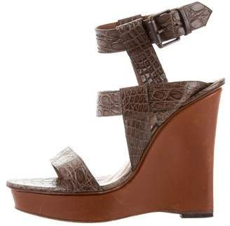 Bottega Veneta Crocodile Platform Wedges