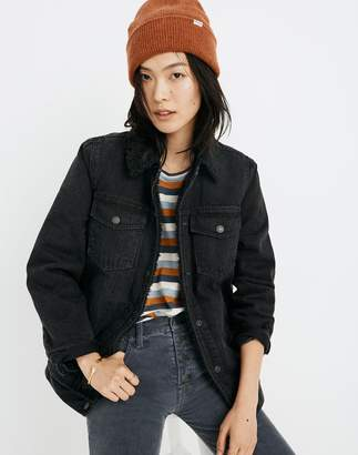 Madewell The Oversized Jean Jacket in Gallagher Black: Sherpa Edition